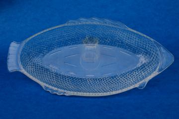 vintage Glasbake heat proof glass fish baking dish, oven to table