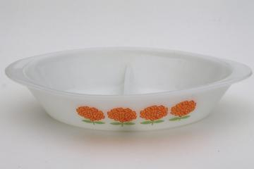 vintage Glasbake milk glass casserole pan w/ cute retro flowers in yellow & orange