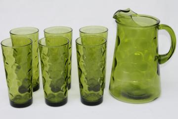 vintage Hazel Atlas Eldorado green glass lemonade set, tall cooler glasses & pitcher