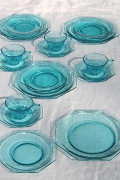 vintage Hazel Atlas capri blue aqua glass dishes set, Octagon octagonal shape