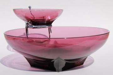 vintage Hazel Atlas moroccan amethyst glass chip & dip set, square base round bowls