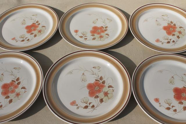 Vintage Hearthside An Stoneware Dishes Retro Water Colors Blush Flower Pattern Dinner Plates
