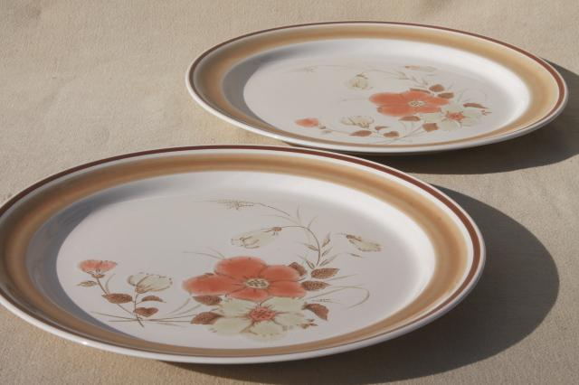 vintage hearthside japan stoneware dishes retro water colors blush flower pattern dinner plates - Stoneware Dishes