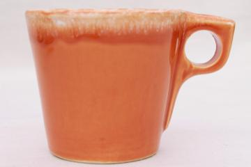 vintage Hull oven proof pottery coffee mug, tangerine orange drip glaze