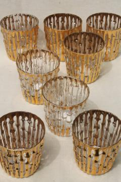 vintage Imperial Bambu gold bamboo old fashioneds, retro drinking glasses bar glassware set of 8
