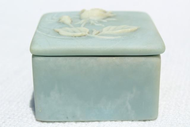 vintage Incolay jewelry boxes, unicorn music box & rose cameo, blue & white marble
