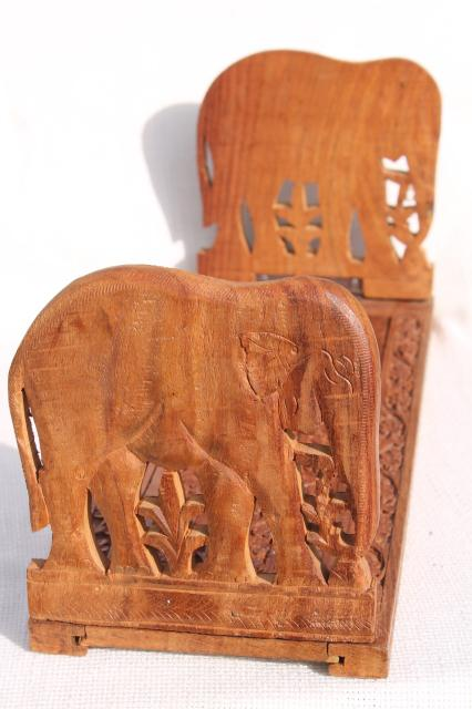 vintage India folding wood book stand w/ hand carved Indian elephants