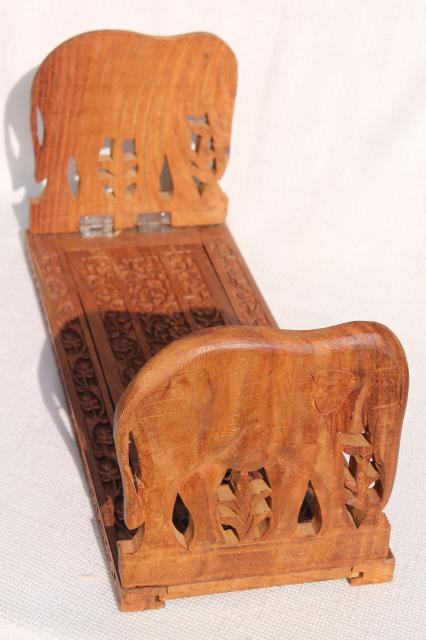 Vintage India Folding Wood Book Stand W Hand Carved