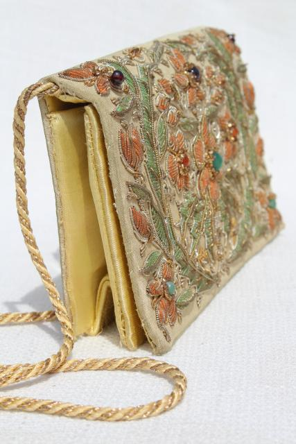 vintage India silk shoulder bag clutch purse w/ metal embroidery and gemstone beads