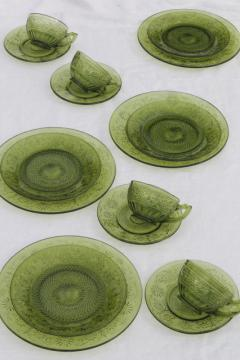 vintage Indiana daisy pattern glass dishes, avocado green glass plates, cups & saucers
