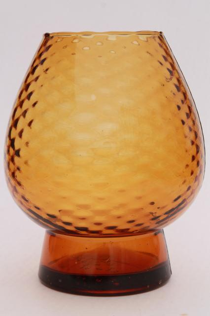 Vintage Italian Art Glass Vase Amber Glass Optic Hand Blown Molded
