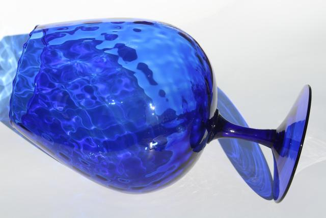 vintage Italian art glass vase, huge hand blown snifter glass bowl in cobalt blue