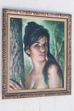 vintage J H Lynch print Tina, retro girl art painting, Turner framed picture
