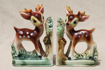 vintage Japan ceramic baby deer bookends, hand-painted spotted fawn book ends set