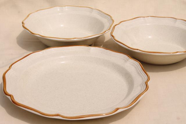 vintage Japan stoneware, Mikasa Garden Club plain tan serving dishes / completer pieces