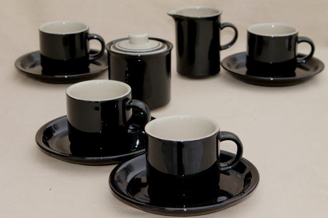 Vintage An Stoneware Dishes Ceramic Coffee Mug Cups Saucers Glossy Black Tan Pottery