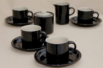 vintage Japan stoneware dishes, ceramic coffee mug cups & saucers, glossy black & tan pottery