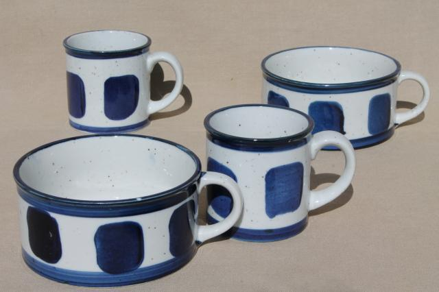 vintage Japan stoneware pottery soup mug bowls coffee mugs