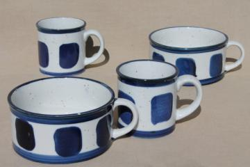 vintage Japan stoneware pottery soup mug bowls & coffee mugs, cobalt blue pattern
