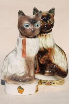 vintage Jim Beam bottles, Regal china figural cats, 60s retro kitty cat decanters