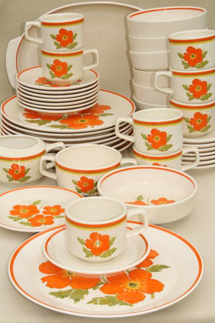 vintage Lenox stoneware dinnerware set fire flower mod orange flowers 60s Vera style  sc 1 st  1StopRetroShop.com & vintage Lenox stoneware dinnerware set fire flower mod orange ...