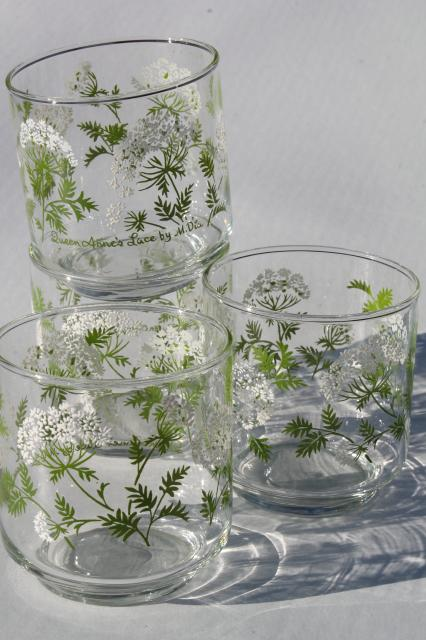 Vintage Libbey Queen Anne S Lace Pattern Old Fashioned Lowball Glasses Short Tumblers