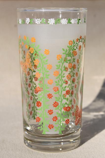Vintage Libbey Drinking Glasses 70s Retro Butterfly