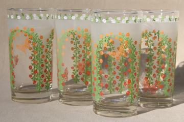 vintage Libbey drinking glasses, 70s retro butterfly & arch of flowers pattern tumblers set