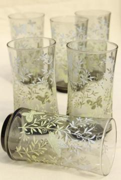 vintage Libbey drinking glasses smoke w/ spring green butterflies & flowers print