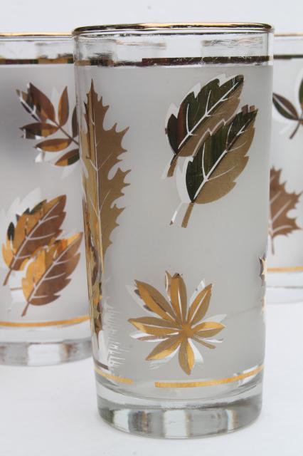 Vintage Libbey Glass Golden Foliage Gold Leaf Leaves Print
