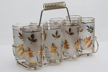 vintage Libbey glass Golden Foliage gold leaf leaves print drinking glasses set in carrier rack