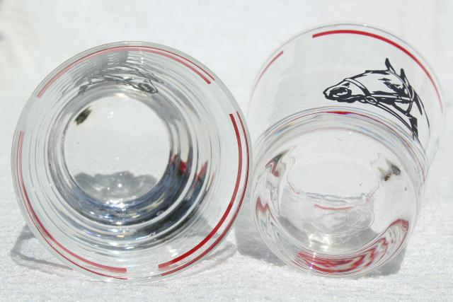 vintage Libbey glass drinking glasses, Derby winner horse head w/ red band
