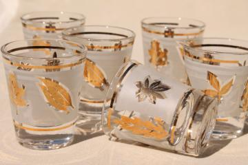 vintage Libbey glass shot glasses, golden foliage gold leaf shots set