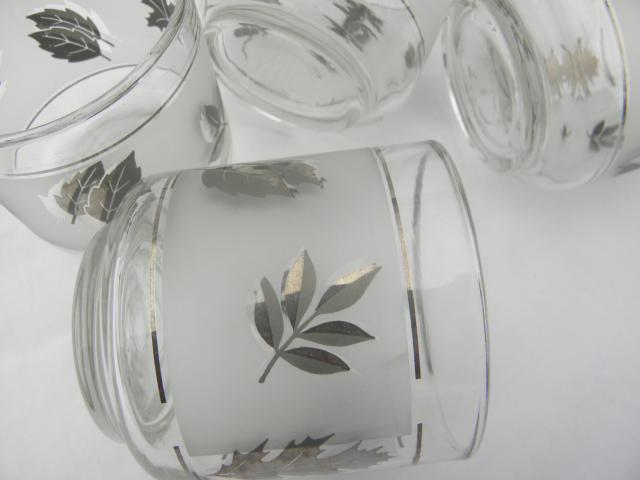 vintage Libbey silver foliage leaf print glasses, old-fashioned lowball tumblers