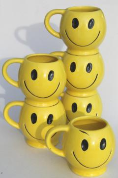 vintage McCoy pottery mugs, 70s retro yellow smiley face ceramic coffee cups set of 6
