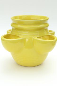 vintage McCoy pottery, retro yellow strawberry pot herbs planter, sunny yellow ceramic
