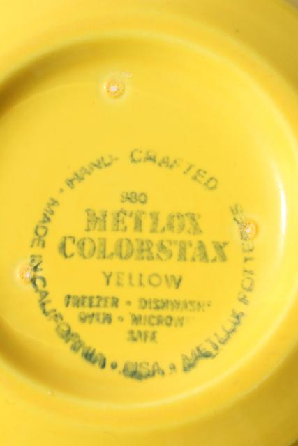 vintage Metlox pottery Colorstax yellow soup or cereal bowls set of four