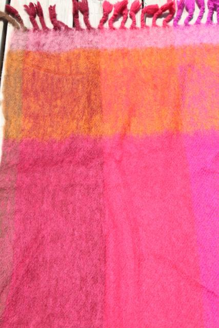 vintage Metsovaara Finland handwoven mohair wool throw blanket in sunset colors