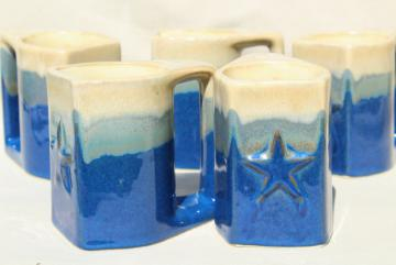 vintage Mexican Padilla pottery drip glaze coffee cups, southwest sky blue & tan