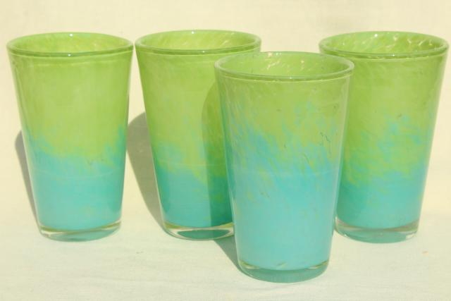 vintage Mexican glass tumblers, hand blown glass blue green confetti drinking glasses set