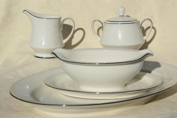 vintage Noritake china Affection pattern white chintz floral, serving pieces lot