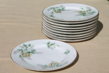 vintage Noritake china bread & butter or dessert plates, Marsha yellow roses floral