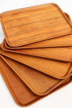 vintage Nybro Sweden teak meal / lap trays set, Scandinavian modern vintage mod bent wood