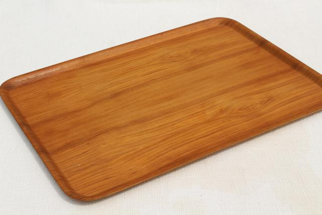 vintage Nybro Sweden teak serving trays set, Scandinavian modern vintage mod bent wood
