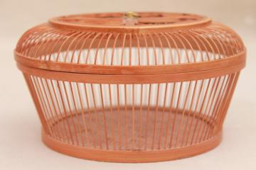 vintage Occupied Japan bamboo birdcage basket, large round box w/ lid