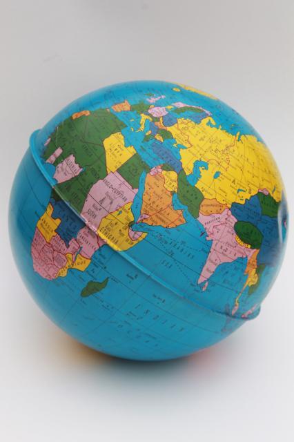 Vintage ohio art tin globe metal litho print world map globe ball w vintage ohio art tin globe metal litho print world map globe ball w no stand gumiabroncs Choice Image