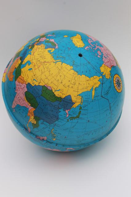 vintage ohio art tin globe metal litho print world map globe ball w no stand