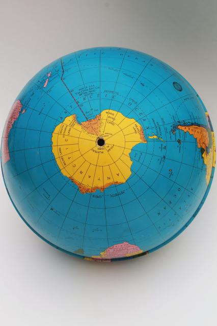 vintage Ohio Art tin globe, metal litho print world map globe ball w/ no stand