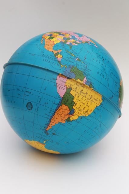 world globe on stand. Vintage Ohio Art Tin Globe, Metal Litho Print World Map Globe Ball W/ No Stand On A