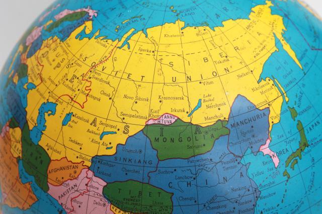 World Map Globe Ball. vintage Ohio Art tin globe  metal litho print world map ball w no stand